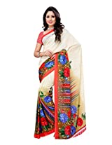 Ambaji Beige & Red Coloured Renial Georgette Printed Saree