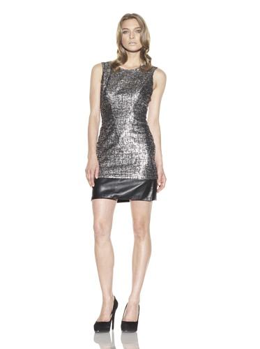 Christian Siriano Women's Metallic Tweed Sheath Dress (Gold)