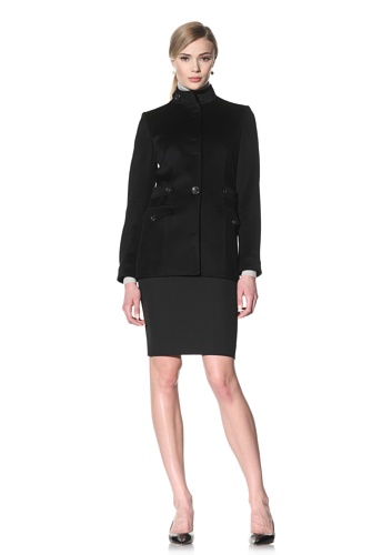 Luciano Barbera Women's Wool Coat with Banded Collar (Black)