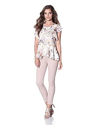 Cynthia Rowley Women's Silk Confetti Ruffle Top (White)