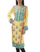 Bright yellow embroidery readymade kurti