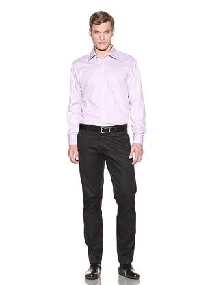 Valentino Men's Dress Shirt (Lavender/White Pattern)