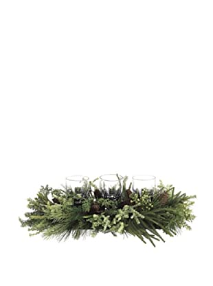 Mixed Pine Centerpiece with 3 Glass Candleholders