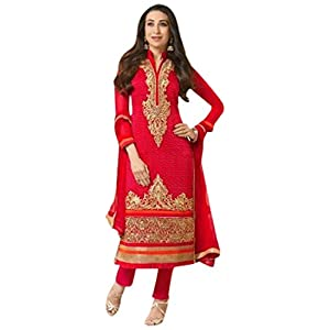 Karishma Kapoor Georgette Resham Embroidered Red Semi Stitched Bollywood Style Straight Fit Suit - BISK1230