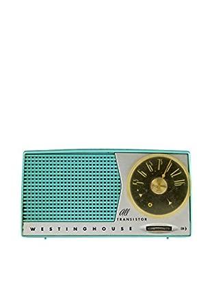 1950s Vintage Westinghouse Portable All Transistor Radio, Teal/Tan