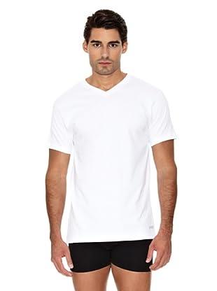 Unno Camiseta Manga Corta Cuello Pico Transpirable (Blanco)