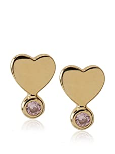 Frida Girl Gold & Pink Crystal Heart Studs