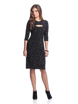 KAMALIKULTURE Women's Cropped Sleeve Dress (Black/White)