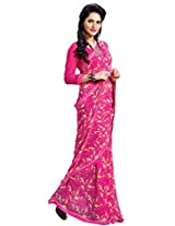 Riti Riwaz georgette pink saree with unstiched blouse FLV312B