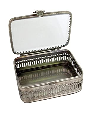 Blue Ocean Traders Glass Top Box, Silver