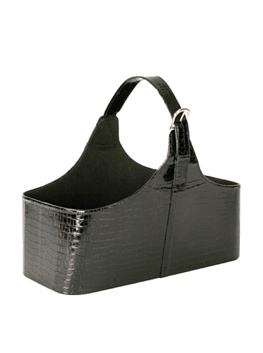 Wald Imports Faux Leather Storage Tote (Black)