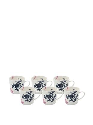 Elinno Set of 6 New Willow Mugs, White/Multi, 3.5