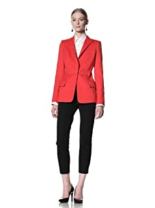 Bill Blass Women's Single Breasted Blazer with Removable Cuffs (Red)