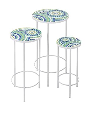 Set of 3 Laguna Mosaic Tables, Blue
