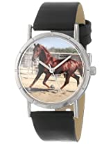 Whimsical Watches Kids' R0110024 Classic American Saddlebred Horse Black Leather And Silvertone Photo Watch