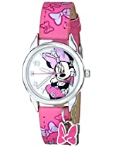 Disney Kids' MIN188 Easy Read Silver-Tone Watch with Pink Faux Leather Band