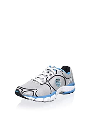 K-Swiss Women's California Running Shoe (Silver/Black/Neon Blue)