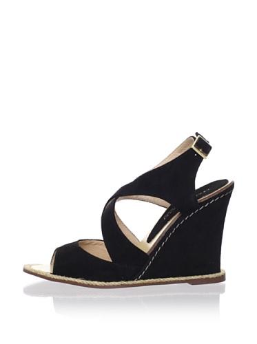 André Assous Women's Facelest Open-Toe Sandal (Black Suede)
