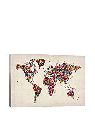 Butterflies World Map II Gallery Wrapped Canvas Print
