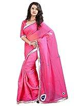 7 Colors Lifestyle Gajri Coloured Super Net Embroidered Saree