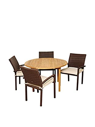 Amazonia Teak Colorado 5-Piece Wicker Round Dining Set with Off-White Cushions, Brown