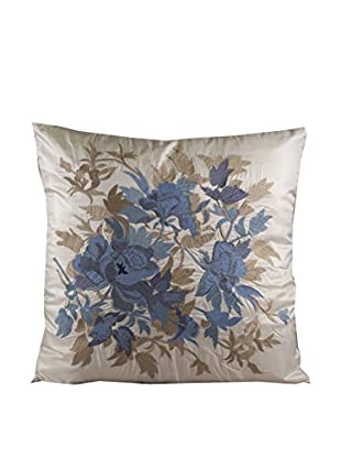 Cloud 9 Embroidered Throw Pillow, Ivory/Blue