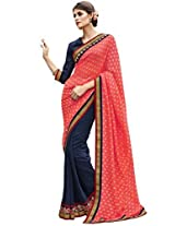 Indian Women Viscose Jacquard And Georgette Pink And Navy Blue Half & Half Saree