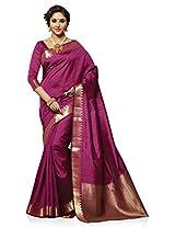 Meghdoot Artificial Tussar Silk Saree (SIYAA_MT1211_WINE Woven Wine Colour Sari)
