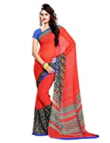 Ethnic Queen Georgette Red & Blue Colour Saree