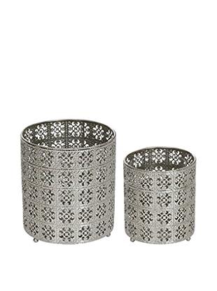 Winward Set of 2 Moroccan Cache Pots, Silver