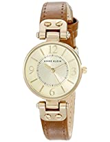 Anne Klein Women's 109442CHHY Gold-Tone Champagne Dial and Brown Leather Strap Watch