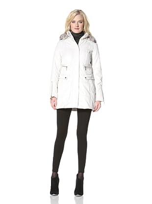 Kensie Women's Zip-Up Coat with Faux Fur Trim Hood (Oyster)