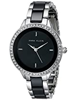 Anne Klein Women's AK/1419BKSV Silver-Tone Watch with Swarovski Element and Black-Stripped Ceramic Band