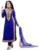 Viva N Diva Blue Color Raw Silk Suit.