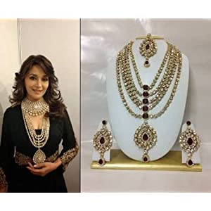 Bridal sets - Famous Bollywood Replica Jewelry Set in Maroon with Pearls