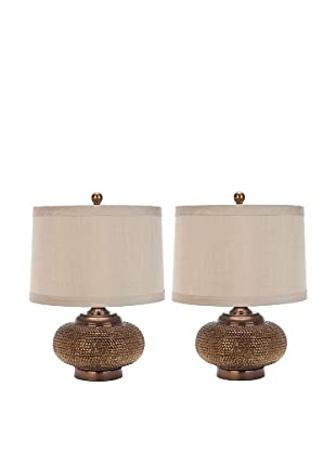 Safavieh Alexis Gold Bead Lamp, Set Of 2, Gold/Taupe