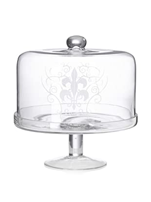 Home Essentials Etched Fleur-de-Lis Cake Stand with Dome
