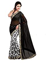 Trynget Georgette Saree (Tng 100 -White)