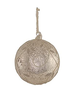 Napa Home & Garden Vine Pattern Glass Ball Ornament, Platinum
