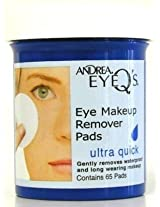 Andrea Eye Q's 65's Ultra Quick Eye Makeup Remover Pads (3-Pack) with Free Nail File