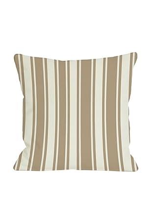 One Bella Casa Tri-Stripes 18x18 Outdoor Throw Pillow (Tan)