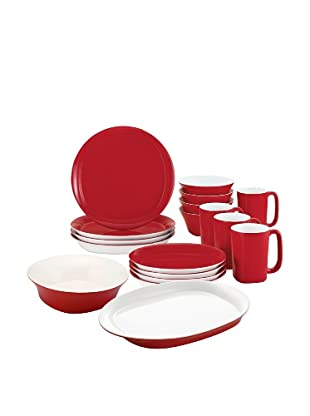 Rachael Ray Round & Square Custom Dinnerware Set, Red