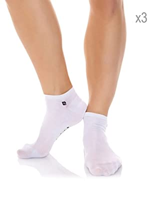 Pierre Cardin Pack x 3 Pares Calcetines Invisible Hilo Escocia Con Lycra (Blanco)