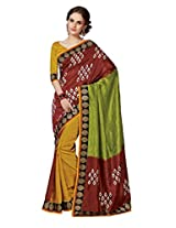 Brown Color Art Bhagalpur Silk Saree with Blouse 11311