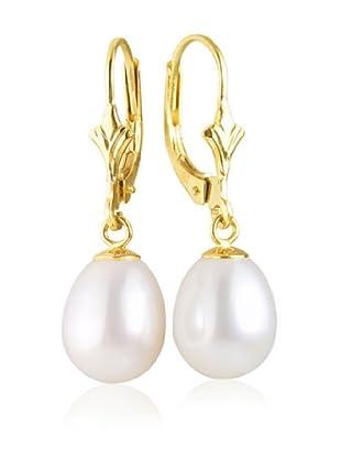 Manufacture Royale Pendientes de Oro Amarillo 9 ct con Perlas Blancas (8-9 mm)