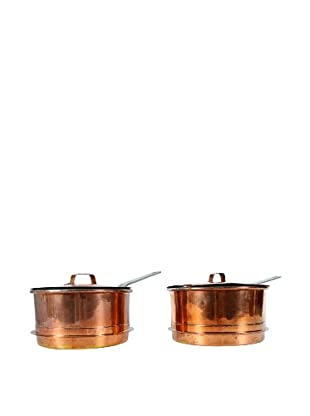 Pair of Vintage Swedish Copper Pots with Lids, Metallic