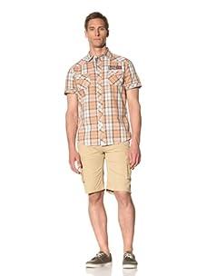 Fresh Men's Short Sleeve Plaid Button-Front Shirt (Orange)