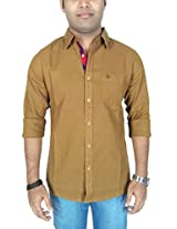 AA' Southbay Men's Khaki Khadi Cotton Long Sleeve Solid Casual Shirt