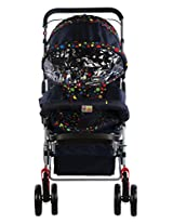 Mee Mee Baby Pram with Soft Cushioned Seat & Full Leg Cover & Canopy (Navy Blue)