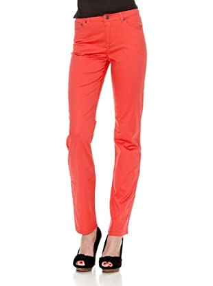Cortefiel Pantalón Regular Algodón Saten (Rojo)